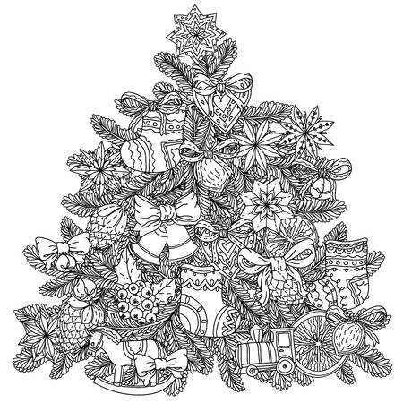 drawing trees: Christmas tree ornament with decorative items, Black and white.  The best for your design, textiles, posters, coloring book