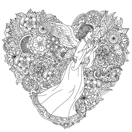 tatto: Handsome young man in the image of the an angel on orient floral heart shape ornament, Black and white. Zentangle patters.  The best for your design, textiles, posters, coloring book
