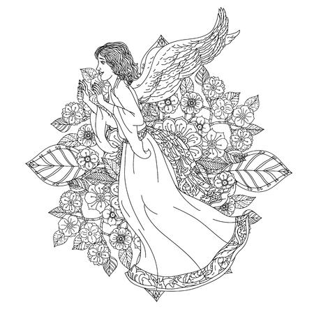 best book: Angel on orient floral ornament, Black and white. Zentangle patters.  The best for your design, textiles, posters, coloring book Illustration