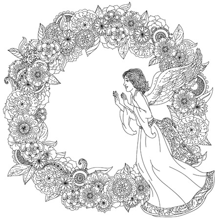 angel white: Angel on orient floral ornament frame, Black and white. Zentangle patters.  The best for your design, textiles, posters, coloring book