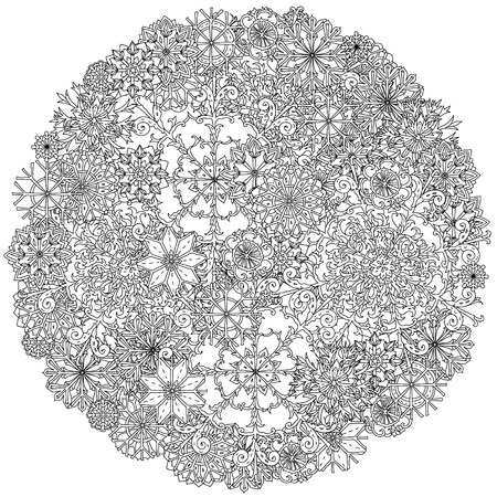 decorative items: Circle ornamen of snowflakes with decorative items, Black and white . Zentangle patters.  The best for your design, textiles, posters, coloring book