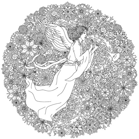 angel white: Angel on Christmas ornament of snowflakes, Black and white. Zentangle patters.  The best for your design, textiles, posters, coloring book