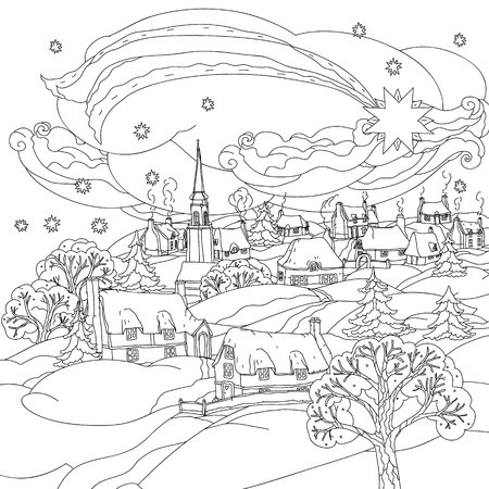 Christmas star flies over winter village, Black and white. Zentangle patters.  The best for your design, textiles, posters, coloring book