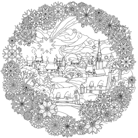 Christmas landskape with star flies over winter village, in frame of snowflakes, Black and white. Zentangle patters.  The best for your design, textiles, posters, coloring book