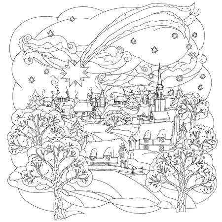 coloring pages to print: Christmas star flies over winter village, Black and white. Zentangle patters.  The best for your design, textiles, posters, coloring book