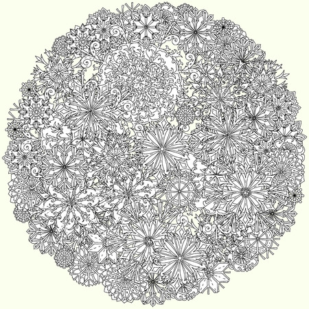 decorative items: Circle ornament of snowflakes with decorative items, Black and white . Zentangle patters.  The best for your design, textiles, posters, coloring book