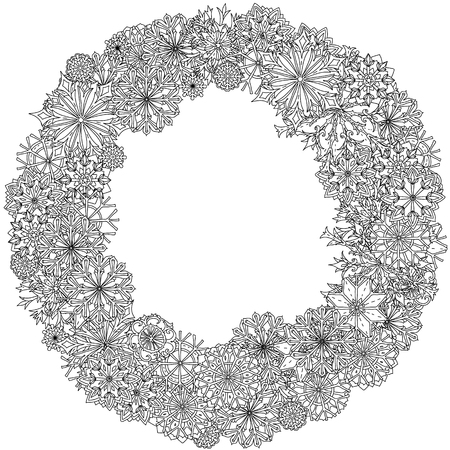 Ornate frame of snowflakes, Black and white. Zentangle patters.  The best for your design, textiles, posters, coloring book Vettoriali
