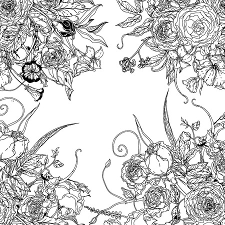 interpretation: Frame with flowers  Zentangle interpretation. Black and white. Vector illustration. The best for your design, textiles, posters, coloring book Illustration