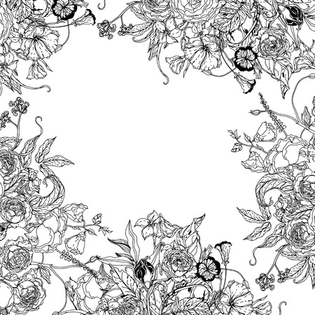 Frame with flowers  Zentangle interpretation. Black and white. Vector illustration. The best for your design, textiles, posters, coloring book Illustration