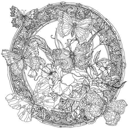 Luxurious frame with flowers and butterflies.  Illustration