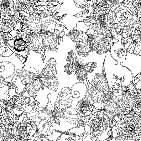 flowers and butterflies.
