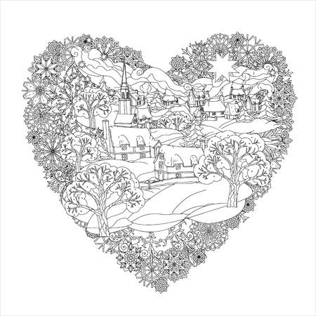 tatto: Winter landskape in heart shape frame of snowflakes, Black and white.