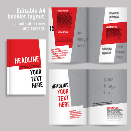 mag: A4 book  Layout Design Template with Cover and 2 spreads of Contents Preview. For design magazines, books, annual reports.