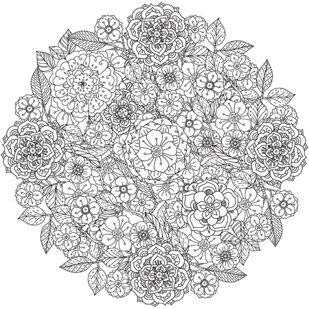 japanise: Floral ornament. Art mandala style.  Black and white background.