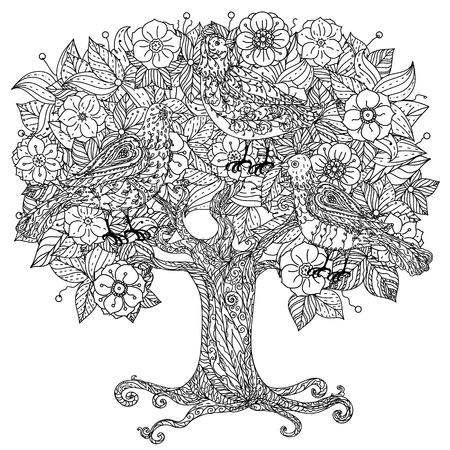 fiori albero e gli uccelli. interpretazione. Bianco e nero. illustrazione. Il meglio per il vostro disegno, tessuti, manifesti, libro da colorare Vettoriali