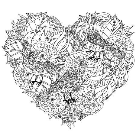 interpretation: flowers in heart shape with birds. interpretation. Black and white. illustration. The best for your design, textiles, posters, coloring book or Valentines Day card