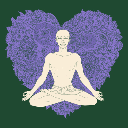 yelow: Man in Yoga lotus position for meditation. For the  yoga studio, postcards.  In colourful mandala style at tree shape Floral ornament