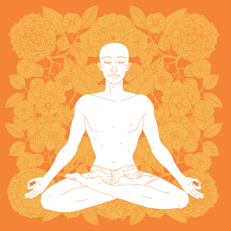 lotus position: Man in Yoga lotus position for meditation. For the yoga studio, postcards.  In colourful mandala style at tree shape Floral ornament