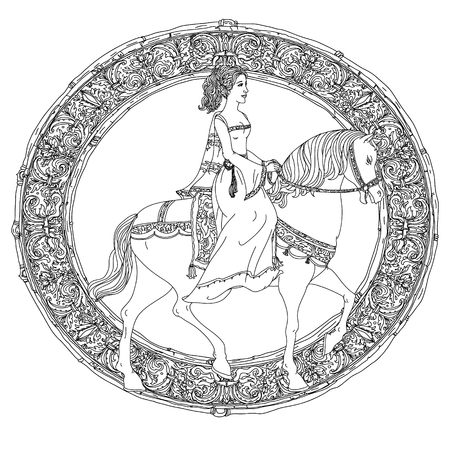 fairy tale princess: Beautiful fashion  women in the image of the princess from a fairy tale, riding on a horse on orient floral black and white  ornament, could be use  for coloring book