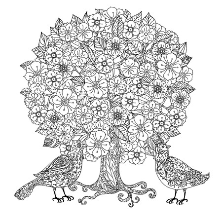 flowers tree and birds. Black and white. Vector illustration. The best for your design, textiles, posters, coloring book Illustration