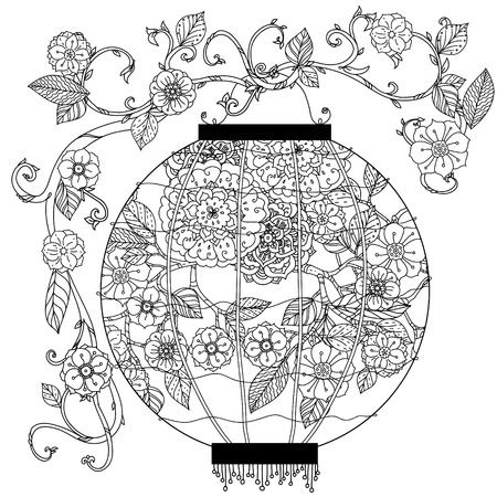 oriental vector: Oriental lantern decorated with floral patterns Black and white. Vector illustration. The best for your design, textiles, posters, coloring book Illustration