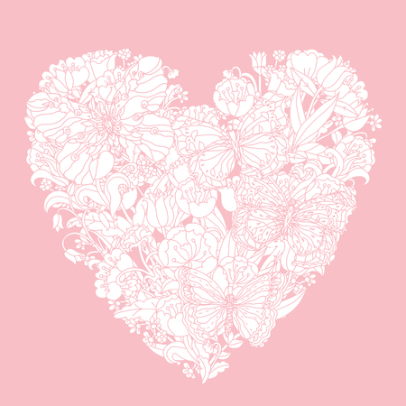 baby romantic: Pastel Floral heart as luxury bouquet with tulips and butterflies. Pink and white. Vector illustration. The best for your design, textiles, posters, coloring book or Valentines Day and wedding card