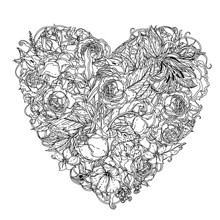 Handdrawn Zentangle Corazón. Diseño De Estilo Mandala Para Tarjetas ...