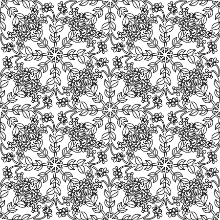 seamless drawing style pattern. Black and white. Flower mandala style. The best for your design, textiles, posters, tattoos, corporate identity, adult coloring book