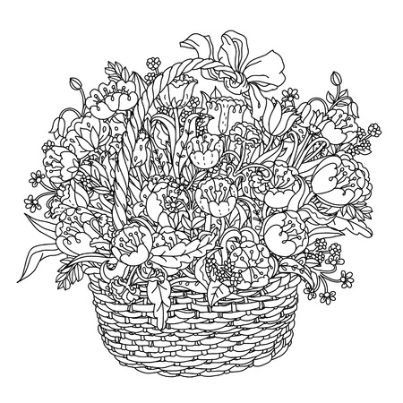 best book: Hand drawing element. Black and white. Flowers in a basket. The best for your design, textiles, posters, tattoos, corporate identity, coloring book