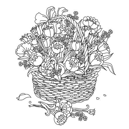 Main élément de dessin. Noir et blanc. Fleurs dans un panier. Le meilleur pour votre conception, textiles, affiches, tatouages, identité visuelle, livre de coloriage Vecteurs