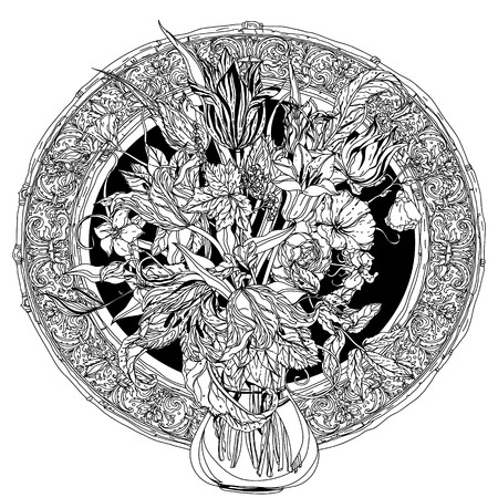 luxurious: Still life with flowers, style of the old Dutch masters, luxurious frame. Black and white. The best for your design, textiles, posters, coloring book
