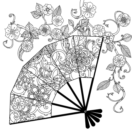textile: Oriental fan decorated with floral patterns interpretation. Black and white. The best for your design, textiles, posters, coloring book