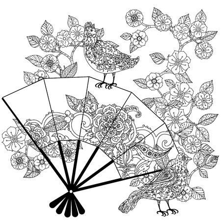 black fan: Oriental fan decorated with floral patterns  interpretation. Black and white. The best for your design, textiles, posters, coloring book