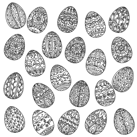 best book: Easter eggs  in adult coloring book style. Black and white. illustration. The best for your design, textiles, posters, coloring pages