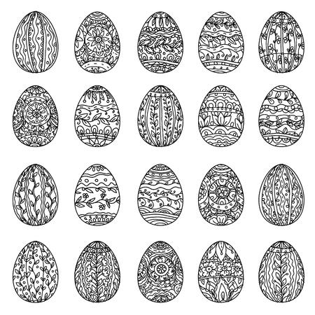 Huevos De Pascua En El Estilo De Libro Para Colorear Para Adultos ...