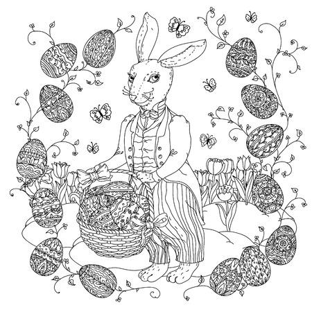 Conejo De Pascua Con Huevos De Pascua A Las Próximas Vacaciones ...