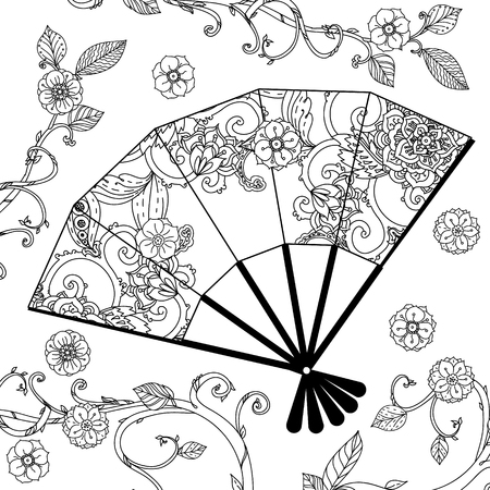 Oriental fan decorated with floral patterns Black and white. illustration. The best for your design, textiles, posters, coloring book