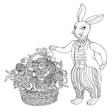upcoming: Easter Bunny with Easter eggs to the upcoming holiday, black and white outline illustration. The best for your design, textiles, posters,  coloring book Illustration