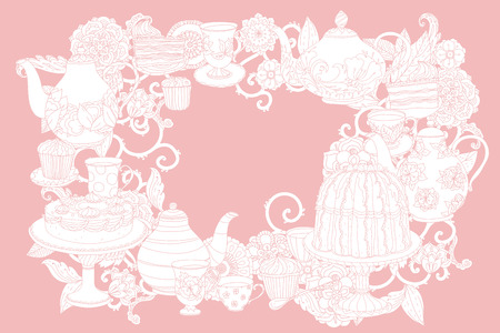 Pastel Floral and tea time elements. Perfect for invitations or announcements.