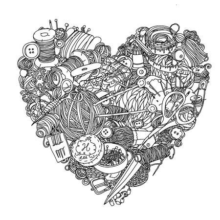 needlework: Needlework items black and white  ornament in heart shape as a symbol of love for needlework . Could be use  for adult coloring book  in zenart style.