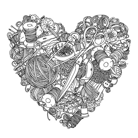 art pen: Clothes buttons, needles, thread, pins, scissors. Hand-drawn needlework items black and white ornament in heart shape.