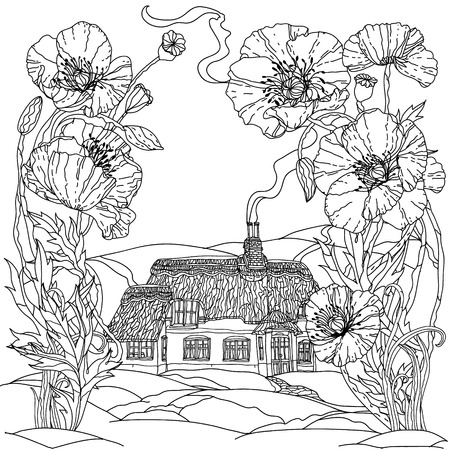 victorian house: field poppies and victorian house. Spring Pattern for adult coloring book in zenart style. Hand-drawn, retro, doodle, vector, uncoloured. The best for your textiles, posters, coloring book in vector. Illustration