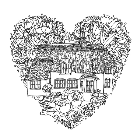 victorian house: black and white flowers in heart shape and victorian house. for adult coloring book, zenart style. Hand-drawn, retro, doodle, vector, uncoloured. The best for textiles, cards, coloring book in vector.