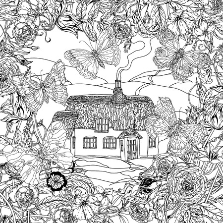 victorian house: black and white flowers, butterflies and victorian house. for adult coloring book, zenart style. Hand-drawn, retro, doodle, vector, uncoloured. The best for textiles, cards, coloring book in vector.