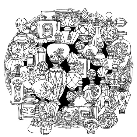 Mandala van fantasie vintage parfums. mandala stijl Patroon voor volwassen kleurboek in vector. Doodles. Zwart en wit. Kleurboekstijl. Voor volwassen kleurboek. mandala vorm. ongekleurd