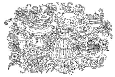 hand pen: time for tea, cups, teapot and cupcakes. for adult coloring book in zenart style. Hand-drawn, retro, doodle, vector, uncoloured. The best for your design, textiles, posters, coloring book in vector. Illustration