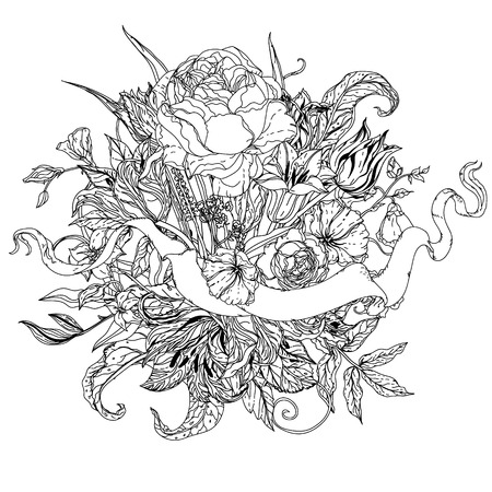 uncolored: uncolored flowers and ribbon for text. Adult coloring book famous zenart style. Hand-drawn, retro, doodle, vector, uncoloured. Black and white. The best for design, textiles, cards, coloring book