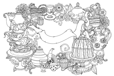 uncolored teapot, cake and ribbon for text. Adult coloring book famous zenart style. Hand-drawn, retro, doodle, vector, uncoloured. Black and white. The best for design, textiles, cards, coloring book