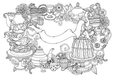 ongekleurd theepot, cake en lint voor tekst. Volwassen kleurboek beroemde Zenart stijl. Hand-drawn, retro, krabbel, vector, ongekleurd. Zwart en wit. Het beste voor het ontwerp, textiel, kaarten, kleurboek
