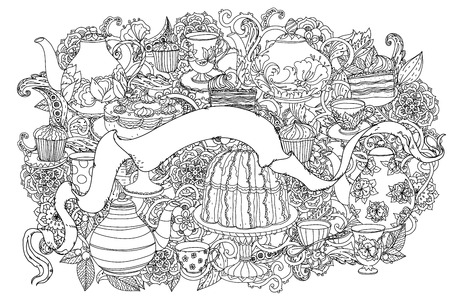 uncolored: uncolored teapot, cake and ribbon for text. Adult coloring book famous zenart style. Hand-drawn, retro, doodle, vector, uncoloured. Black and white. The best for design, textiles, cards, coloring book